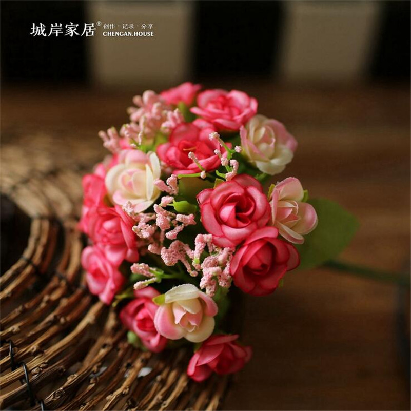 Wholesale cheap 5 color 21 heads Autumn Fake Silk Flower Artificial Rose Wedding Party Home Floral Flower Arrangement Decoration(China (Mainland))