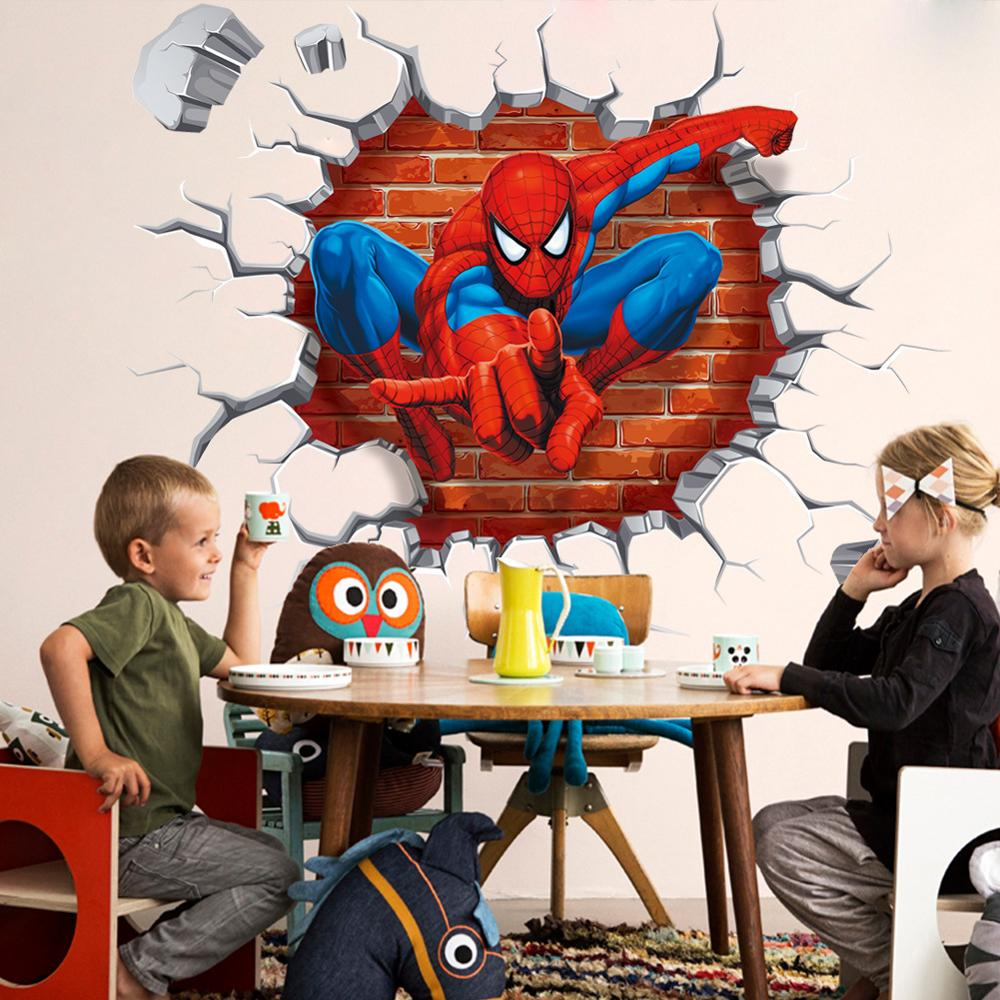 3D stereoscopic Spiderman wall stickers / children's room PVC waterproof sticker / Home Supplies / removable decorative painting(China (Mainland))