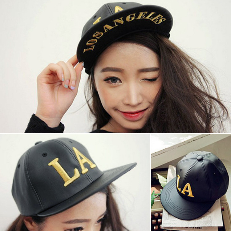 Hot sale bone la PU leather cap hater for women and mens hats and caps snap backs baseball hat cap LA Los Angeles snapback(China (Mainland))