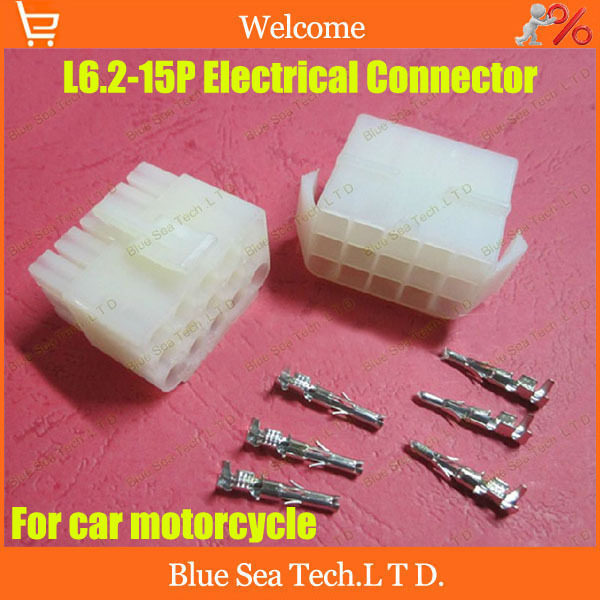10sets total 320pcs L6.2-15P 15 port Terminal 6.2mm pitch Electrical Connector Kits Male Female jack plug for Car Free shipping<br><br>Aliexpress