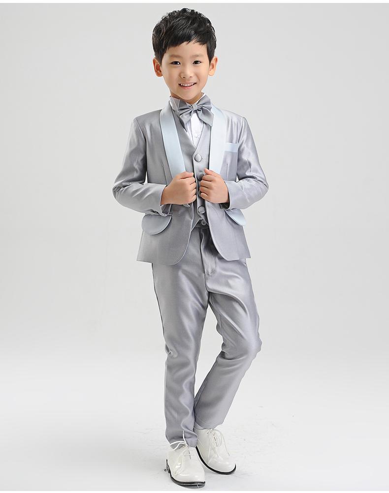 Скидки на 5 pcs boy children piano costume boy England suit boys suits for weddings (jacket+pats+vest+shirt+bow tie)