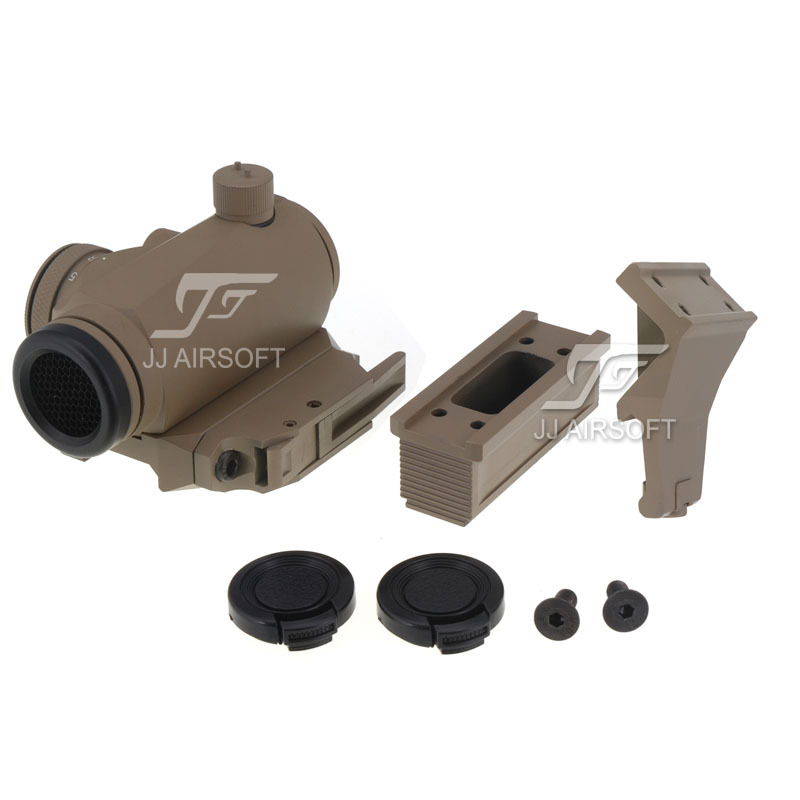 JJ Airsoft T1/T-1 Red Dot with Killflash / Kill Flash,45 degree Offset Mount,Bobro Style QD Low Mount and Riser (Tan)<br><br>Aliexpress