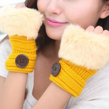 2015 New Fashion Fur Winter Gloves Guantes Mujer Warm Fingerless Gloves Winter Mittens Luva(China (Mainland))