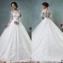 Ball Gown Wedding Dresses 2016 Scoop Neck Long Sleeve Button Sweep Train Tulle and Lace Custon Made Bridal Gown Dress Romantic(China (Mainland))