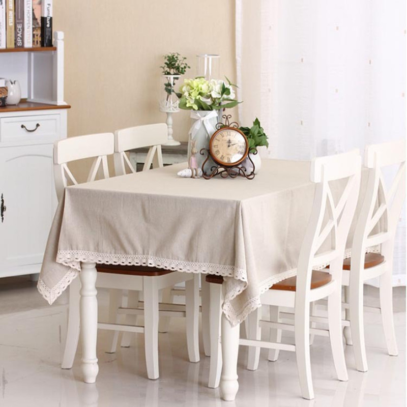 Solid Table Cloth Cotton&Linen Table Cover For Wedding Hotel Party Tablecloth Rectangular/Square lace Plain natural tablecloth(China (Mainland))