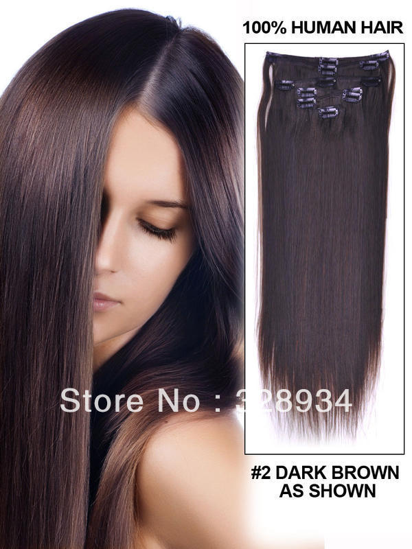 24 7 Piece Silky Straight Clip In Indian Remy Human Hair Extension - 1B<br><br>Aliexpress