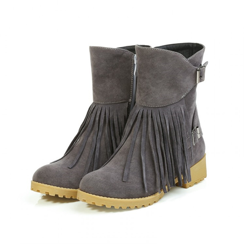 Plus Size 34-43Women Ankle Boots Solid Round Toe tassel Shoes Thick Heels winter zipper Boots Casual snow boots Women(China (Mainland))