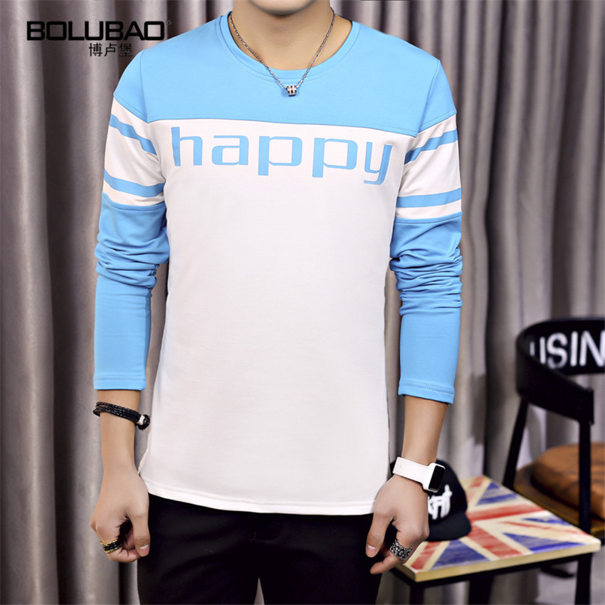 2016 New Arrival Fashion Brand Casual Fitness Men T shirt Striped Patchwork Long Sleeve t shirt Men Slim Fit t-Shirt(China (Mainland))