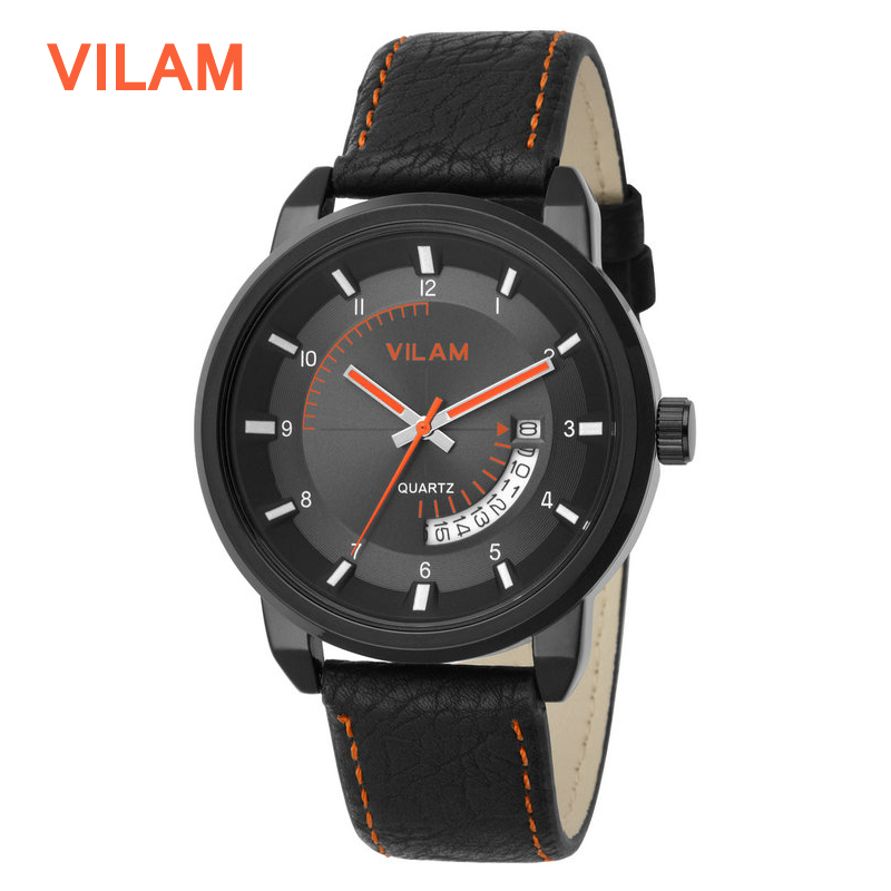 2016 New VILAM Luxury Brand Leather Strap Analog Men's Quartz Date Clock Fashion Casual Sports Watches Men Military Wrist Watch(China (Mainland))