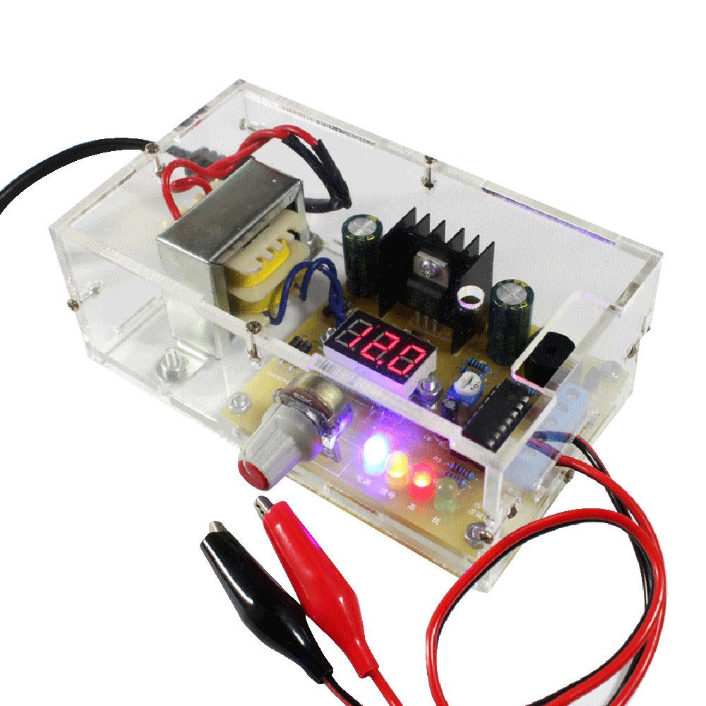 LM317 1.25V-12V Continuously Adjustable Regulated Voltage Power Supply DIY Kit US/UK Plug Integrated Circuits DIY Parts(China (Mainland))
