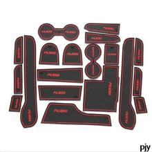 Sport gate slot pad non slit mat car accessories 19pcs for FOR Pajero 2013 2014 2015