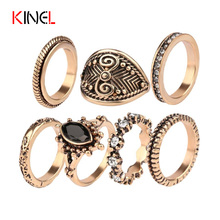 Charm Vintage MiDi Ring Rose Gold Plating 7pcs/Sets perfect Fine Jewelry Black Turquoise White Crystal Rings For Women Jewelry(China (Mainland))