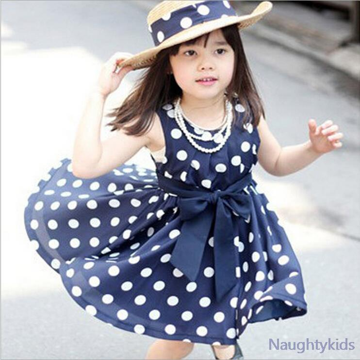 2015 Summer Polka Dot Girls Dress ,for 2~6y Baby Girls Wave Point Dress Kids Wear Casual Children Clothing, 2 Color Available(China (Mainland))