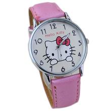 Nueva venta al por mayor venta caliente conciso estilo de diseño niños electrónicos de cuarzo de silicona de dibujos animados KT rosa reloj con caja de reloj W157707