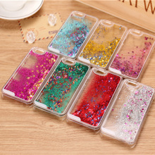 8 Colors Fun Glitter Star Dynamic Liquid Back Case cover for iphone 5C 6 6s 6Plus/6sPlus transparent clear phone back housing(China (Mainland))