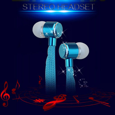Wholesale Popular Stereo Headset In Ear Metal Shoelace Earphone Handsfree Headphones With Mic Earbuds For All Phone MP3 Player(China (Mainland))