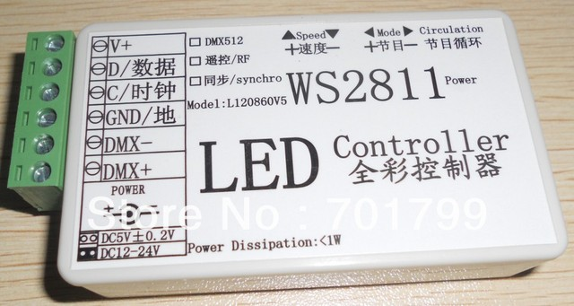 WS2811 LED pixel light controller, RGB full color controlled,DC5-24V input, max control 512 pixels