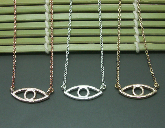 30PCS- N051 Gold Silver Line Turkish Evil eye necklace Dainty Open devil eye Necklaces simple fortunate tiger eye necklace<br><br>Aliexpress