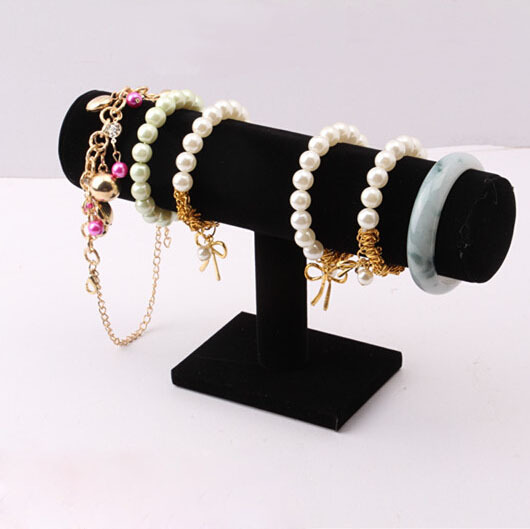 2015 Hot High Quality 1Pcs Black Velvet Hard bracelet Jewelry Display Packgaing Stand Holder T-Bar Bracelet Chain Watch Rack(China (Mainland))