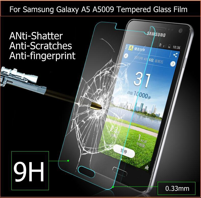 "Newest Premium Tempered Glass film for samsung galaxy A5 A5000 5.0"" Anti-shatter Screen Protector panel guard + retail package(China (Mainland))"
