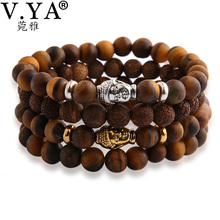 Buy V YA Fashion Buddha Head Bracelet Tiger Eye Beads Bracelets Men Women Natural Stone Lava Matte Pulseras Mujer for $1.89 in AliExpress store