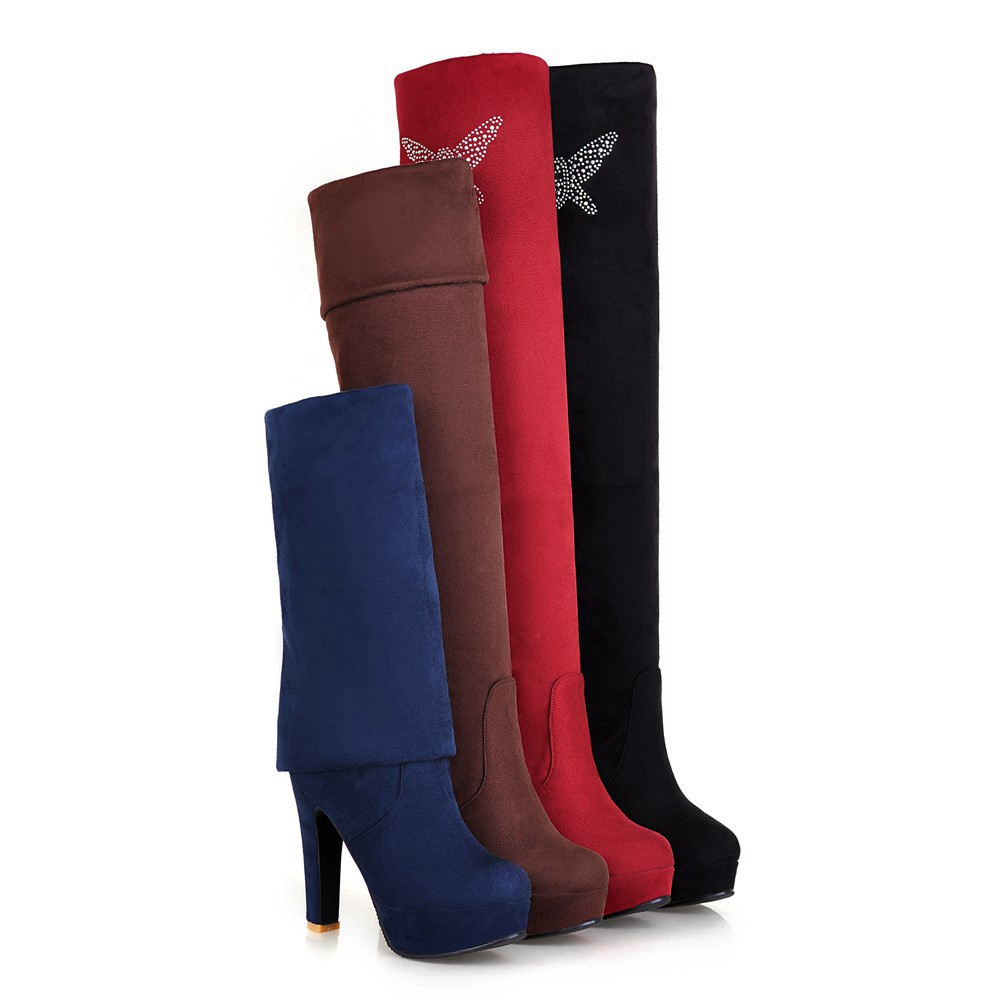 Black/Blue/Brown/Red Fashion Women's Shoes Faux Suede High Heels Platform Ladies' Over Knee Boots Size US 2-13/ EU 32-45 b707(China (Mainland))