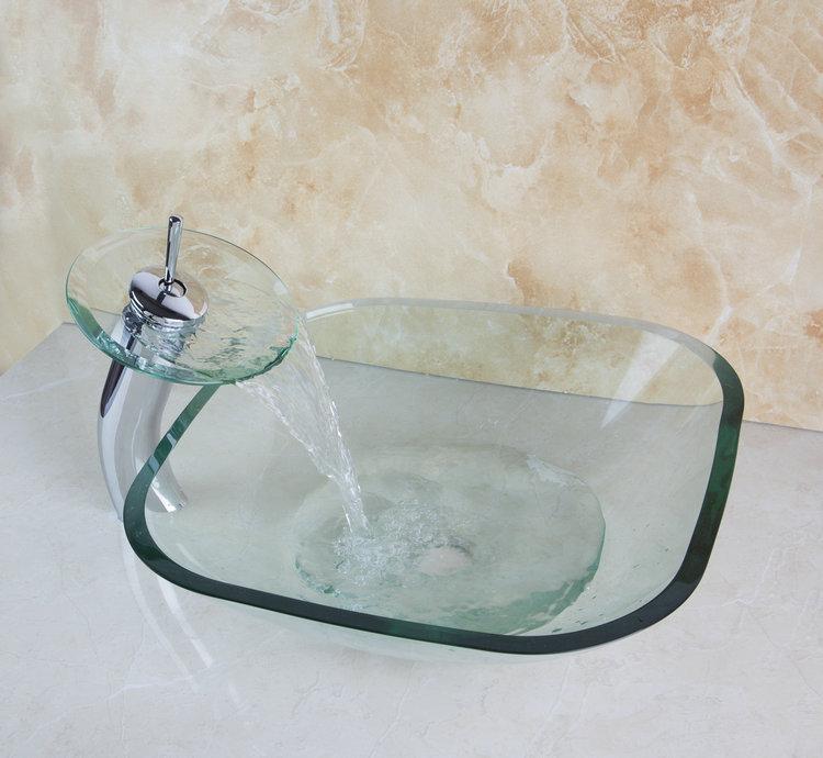 Transparent Construction Real Estate Bathroom Vessel Faucet Tap Lavatory Glass Basin Sets