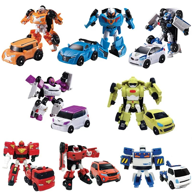 Transformation Robot Cars Korean Anime Mini Action Figures Toys Changable Deformation Car Educational Cartoon Toys For Children(China (Mainland))