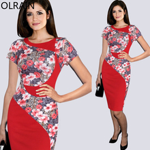 Olrain New Women Fashion Tartan Floral Print Colorblock Patchwork Slim Casual Party Sheath Pencil Dress