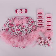 2015 New Arrivel flower baby romper baby headhand baby shoes babay pants 4pcs baby clothing set(China (Mainland))