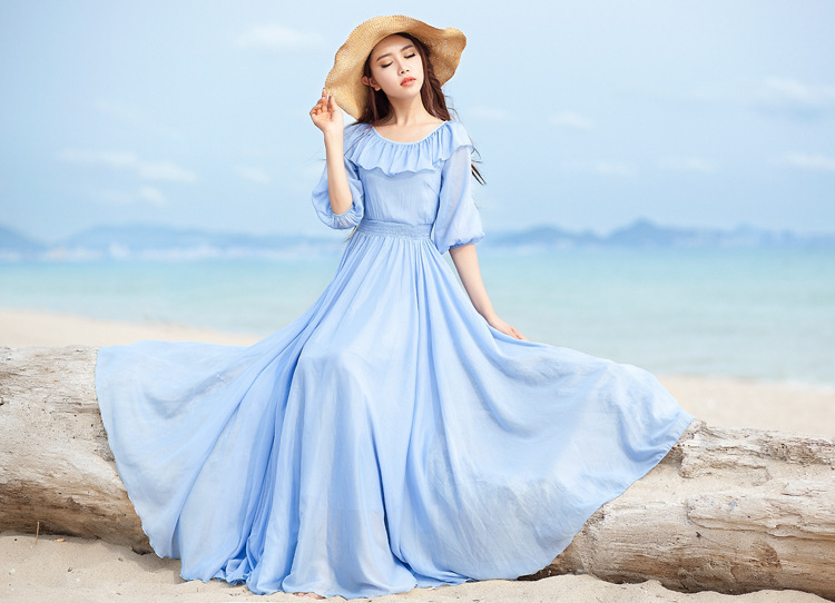 2015 Fashion Summer Women Beach Dress Desigual Ruffled Neck Lantern Sleeve Light Blue Bohemian Maxi Long Vestidos High Quality