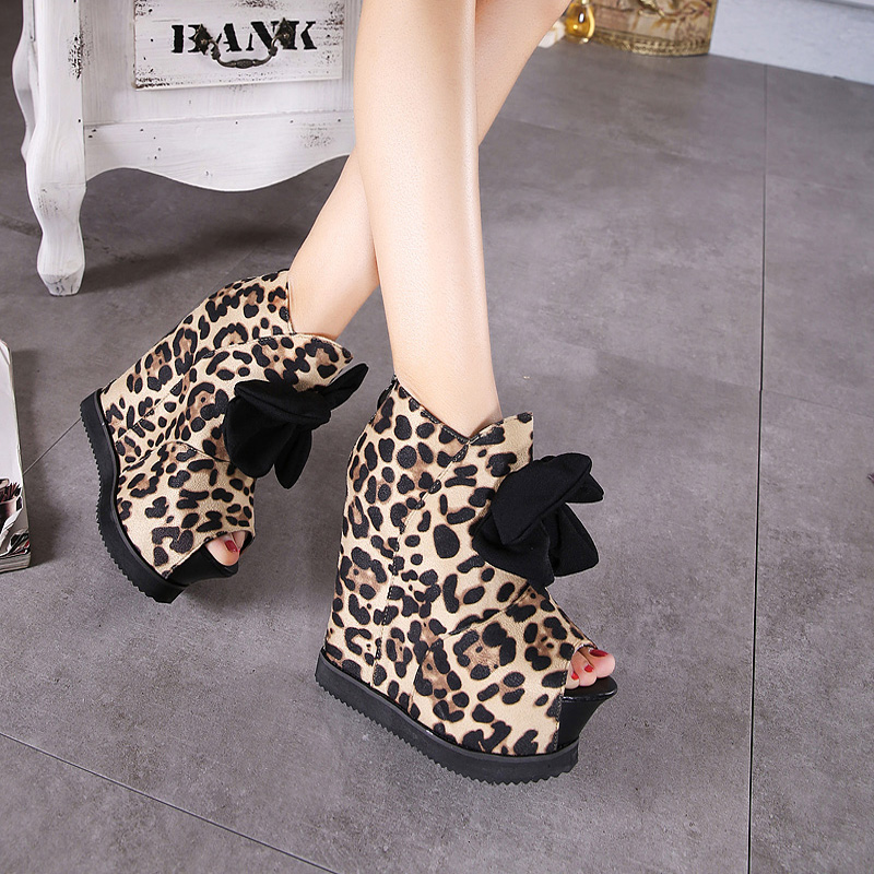 2016 High Wedge Sandals Big bow Sandals Vintage Cut-out Platform Sandals Elegant Thick Sole opee Toe Shoes Fall Shoes leopard(China (Mainland))