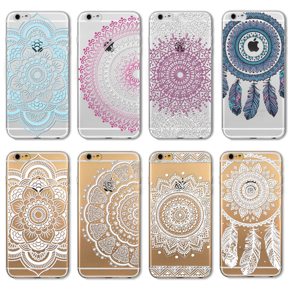 Phone Cases iPhone 6 6s Luxury Silicon Colorful Clear Vintage White Paisley Flower DREAM CATCHER soft Housing Back Cover - bigbigxuan phonecase Store store