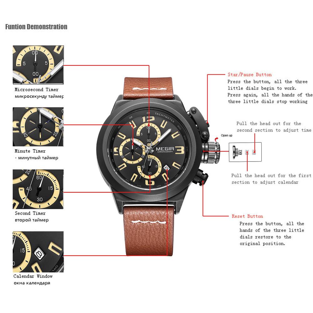 MEGIR Мужчины Новый Стиль Хронограф Многофункциональный Водонепроницаемый Кварцевые Наручные Часы