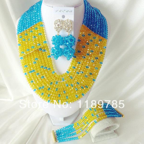 Fashion Nigerian African Wedding Beads Jewelry Set , Crystal Necklace Bracelet Earrings Set A-1640<br><br>Aliexpress