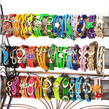 Mix Styles Wholesale 60Pcs/lot Colorful Leather Bracelets For Women Multilayer Leather Friendship Bracelet Cuff Bangle Wristband(China (Mainland))