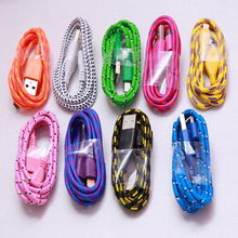 wholesale Hot sale 2M  Fabric Braided Micro USB Cable Charging Cable For Samsung HTC LG Huawei Smart Phone free shipping