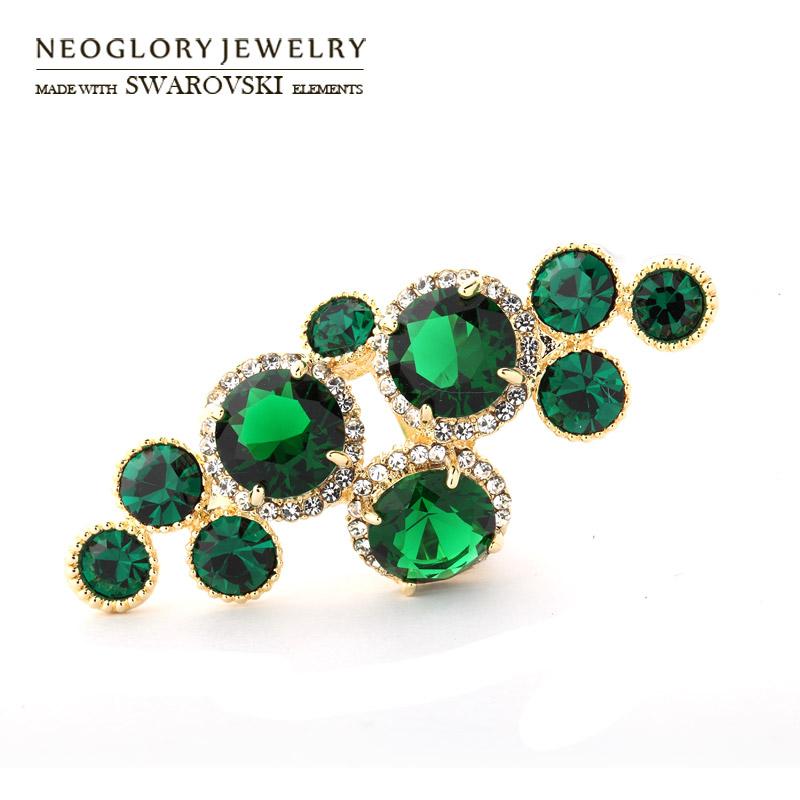 Neoglory Austria Rhinestone & Zircon Finger Ring Geometric Style Light Yellow Gold Color Round Beads Trendy Women Party Vintage(China (Mainland))