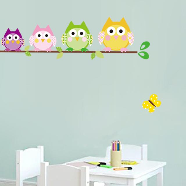 Комикс дети в комната спальня стены окрашенный украшение наклейки милый сова животное стена наклейки