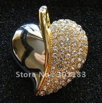 Hot sell 8GB Heart shaped  Diamond  USB Flash drive,golden crystal heart shape usb