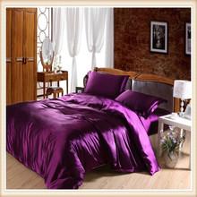 Seta di lusso come quattro pezzi set biancheria da letto biancheria da letto set lenzuola copripiumino colore solido doppio raso biancheria da letto(China (Mainland))