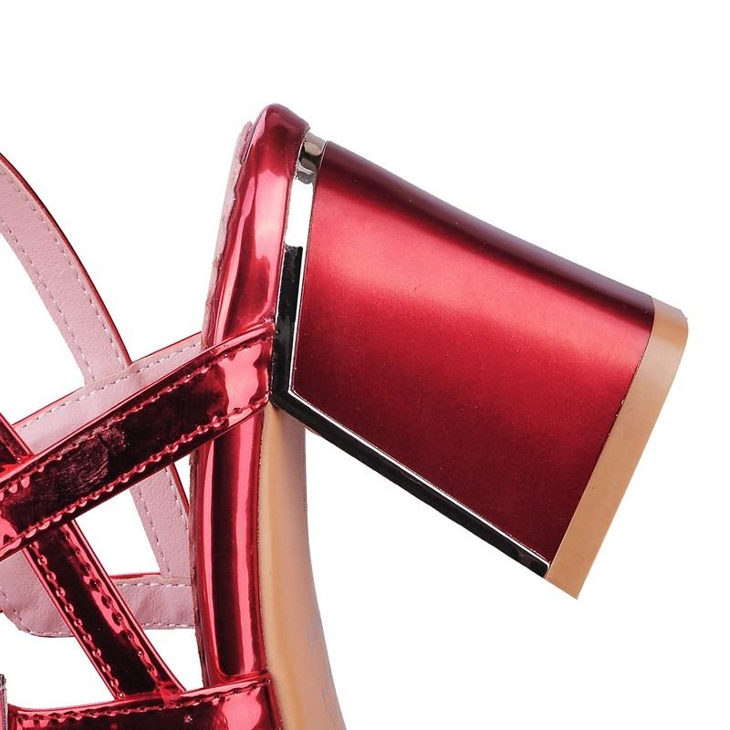 Party Dance Shoes Women 2016 Spring Autumn Buckle Silver High Heel Fish Mouth Party Sandals Women Big Size 33-43 PU Women Pumps
