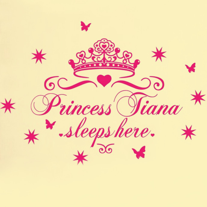 Free Shipping HOME DECOR WALL STICKER PRINCESS SLEEP HERE Kids Bed Room Wall Art Decals For Children(China (Mainland))