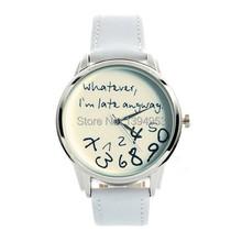 2016 New Style Whatever I'm late anyway Irregular Figure High Quality Women Wristwatch Fashion Watches Quartz Watch Relogio