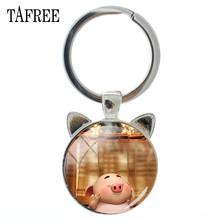 TAFREE Animal Ear Jóias Chaveiro com Cor de Prata de Vidro Cabochão Dos Desenhos Animados Porco Feliz Car Chaveiro Anel para Mulheres Presente Do Miúdo PG102(China)
