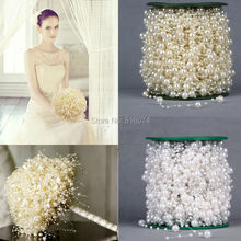 Fashion 5 Meters  Ivory/White/Pink Fishing Line Artificial Pearls Beads Chain Garland Flowers Wedding Party Decoration(China (Mainland))