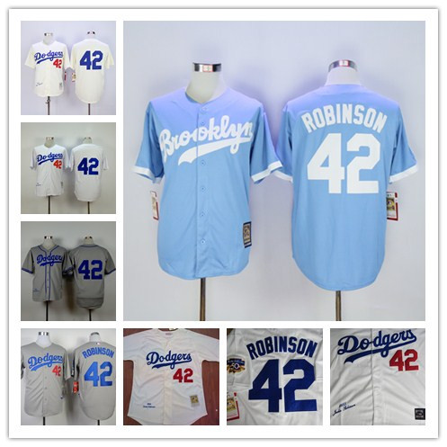 Los Angeles Dodgers 42 LA Dodgers Jersey Jersey throwback Jerseys White Size M-XXXL(China (Mainland))