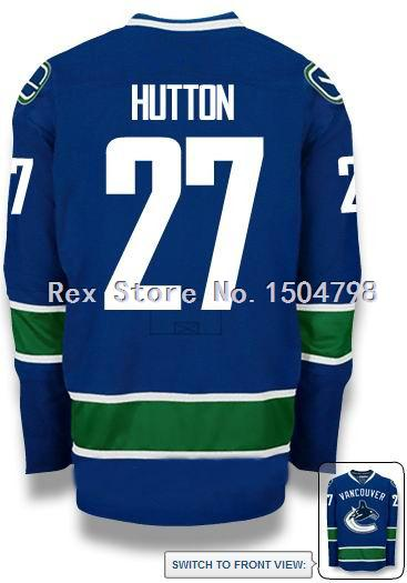 Cheap Ben Hutton Jersey Men's Vancouver Canucks #27 Hockey Jersey Home Blue,Authentic #27 Ben Hutton Sport Jersey,Size 46-56
