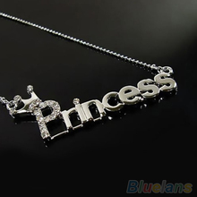 Fashion Crystal Words Letters With Crown Clavicle Chain Pendant Necklace Jewelry 2MNV 3ANX