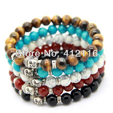 Ailatu Wholesale Men's Beaded Buddha Bracelet, Turquoise, Black Onyx, Red Agate, Tiger Eye Semi Precious stone Jewerly(China (Mainland))